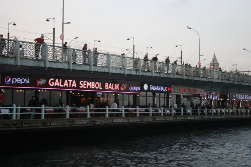 Fish sandwich cafes on the Galata Bridge, Istanbul