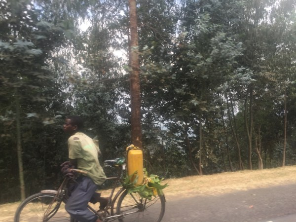 Travelling by bicycle is a common way to get around in Rwanda