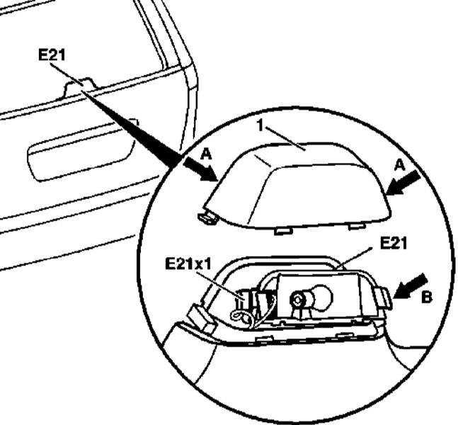 Снятие и установка центрального стоп-сигнала верхнего