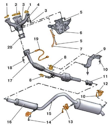 Снятие и установка приемной трубы глушителя (бензиновые