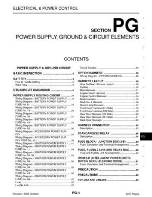 2010 Nissan Rogue  Power Supply, Ground & Circuit Elements (Section PG)  PDF Manual (97 Pages)