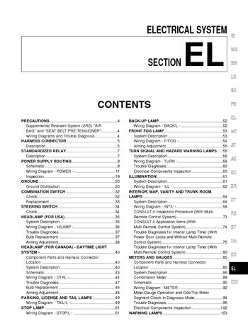 nissan sentra wiring diagram 2016 facial trigeminal nerve 2001 electrical system section el pdf manual 346 pages