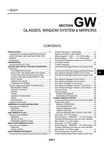 nissan x trail t30 wiring diagram dayton heater 2004 glasses window system mirrors section gw 94 pages