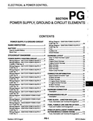 2013 Infiniti G37  Power Supply, Ground & Circuit