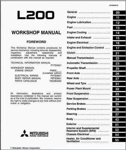 mitsubishi triton wiring diagram 2005 keystone cougar l200 parts instructions service manuals at vevomusik co