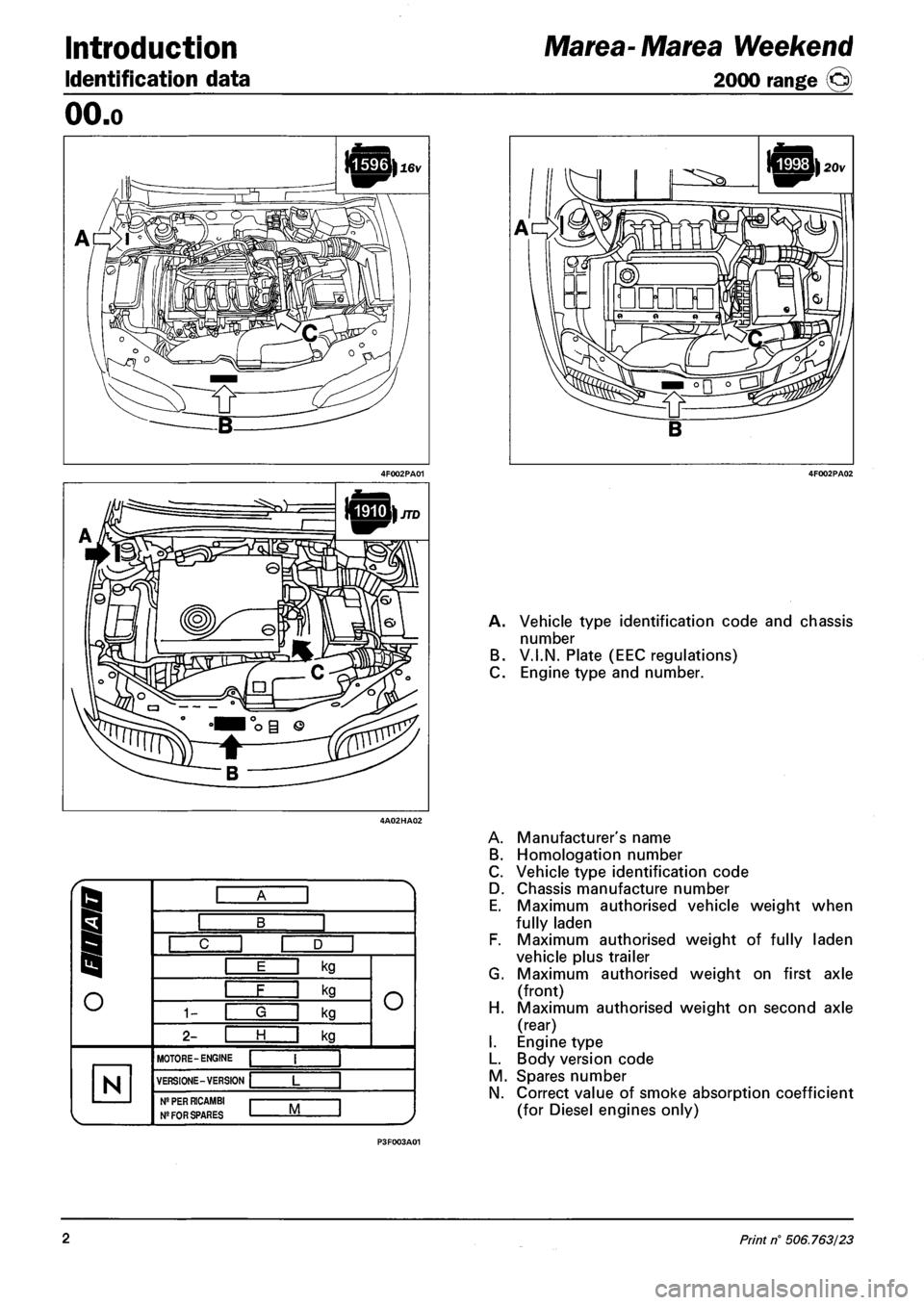FIAT MAREA 2001 1.G Workshop Manual (330 Pages)