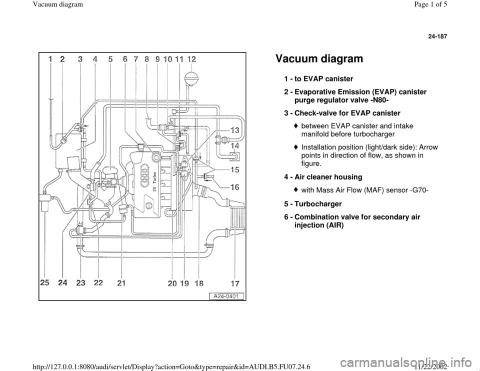 AUDI A4 1998 B5 / 1.G AWM Engine Vacuum Diagram Workshop