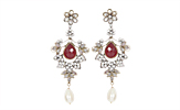 Magnificent Red & White Victorian Earrings