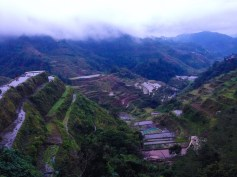 The famous Banaue rice terraces just before sundown. Not yet planting season, unfortunately