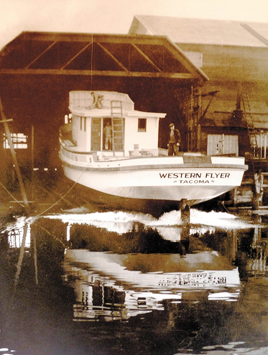 Western Flyer Launching at Western Boat Building Co. Petrich Photo