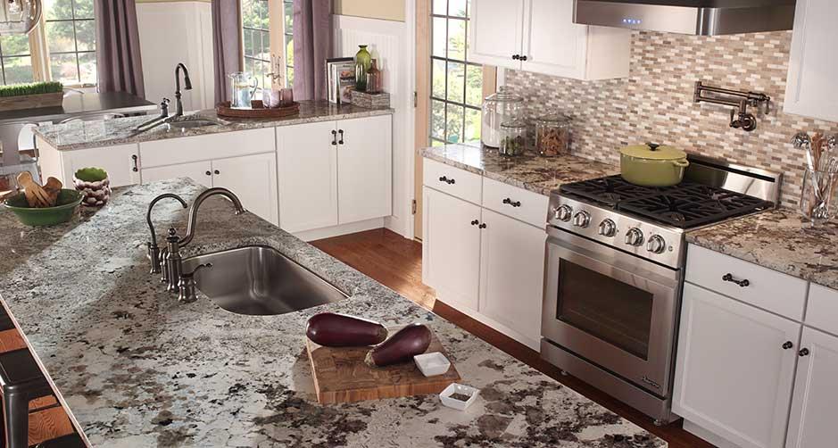 granite kitchen counters islands ikea alaska white countertops carmel stone imports