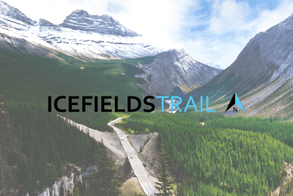 icefields parkway logo and mountain range photo
