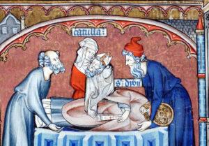 Dame Catulla recueille la prècieuses tête de Saint Denis