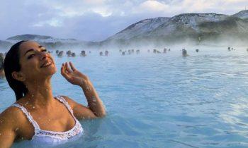Afuera está a 0 grados Celsius (32 F) pero estas aguas termales están a 40 grados C (100 F)