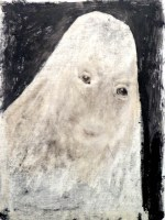 A ghost Oil on wood. 35x26cms.