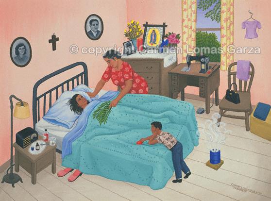 Curandera (Mexican Healer) painting by Carmen Lomas Garza