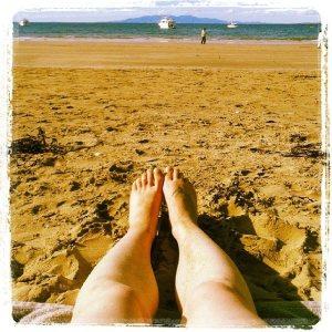 Enjoying my beach day on Waiheke!