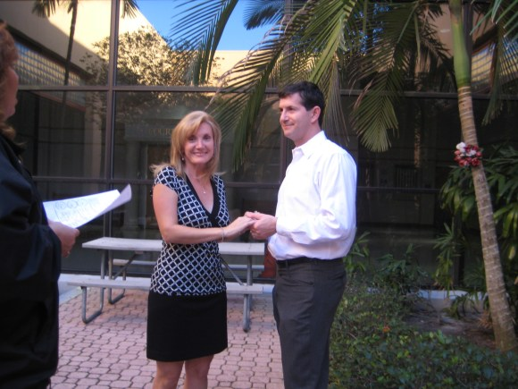 Our Civil Wedding Ceremony in the courtyard at Deerfield Beach Court House