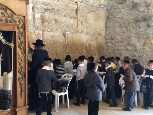 Kids praying at The Wailing Wall, Jerusalem