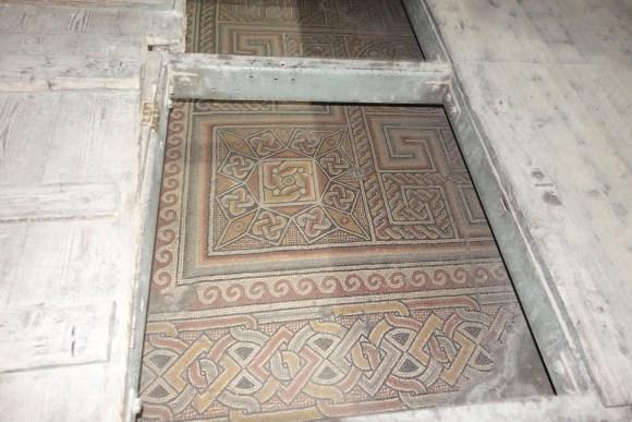 Floor Mosaics behind trap doors in the Church of Nativity