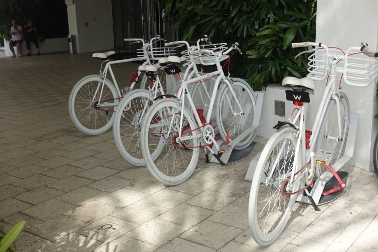 Bikes outside W Hotel Lobby Area