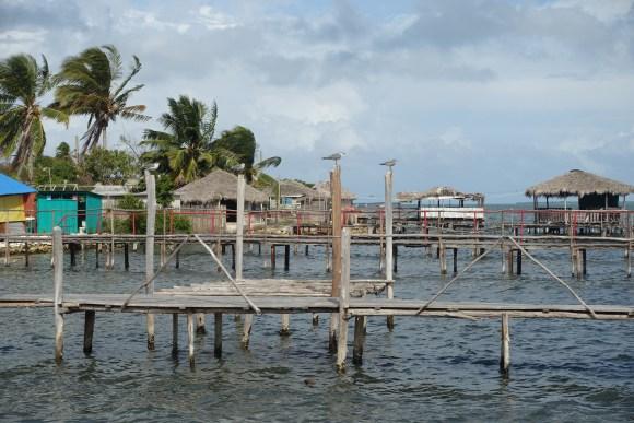 Tiki huts in the water in Isabela de Sagua, Cuba