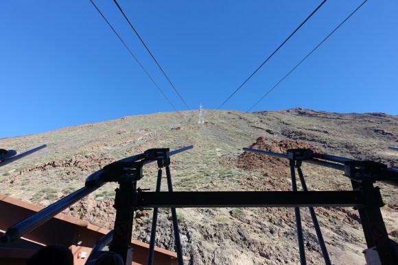 Teide Cable Car (Teleferico de Teide) heading up to the upper station, Teide National Park, Tenerife