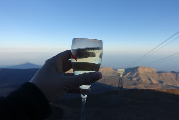 A toast of Champagne from up top of Mount Teide