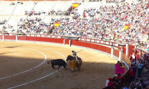 Picadores using his pica (spear) at Bullfight at Plaza de Toros, Madrid