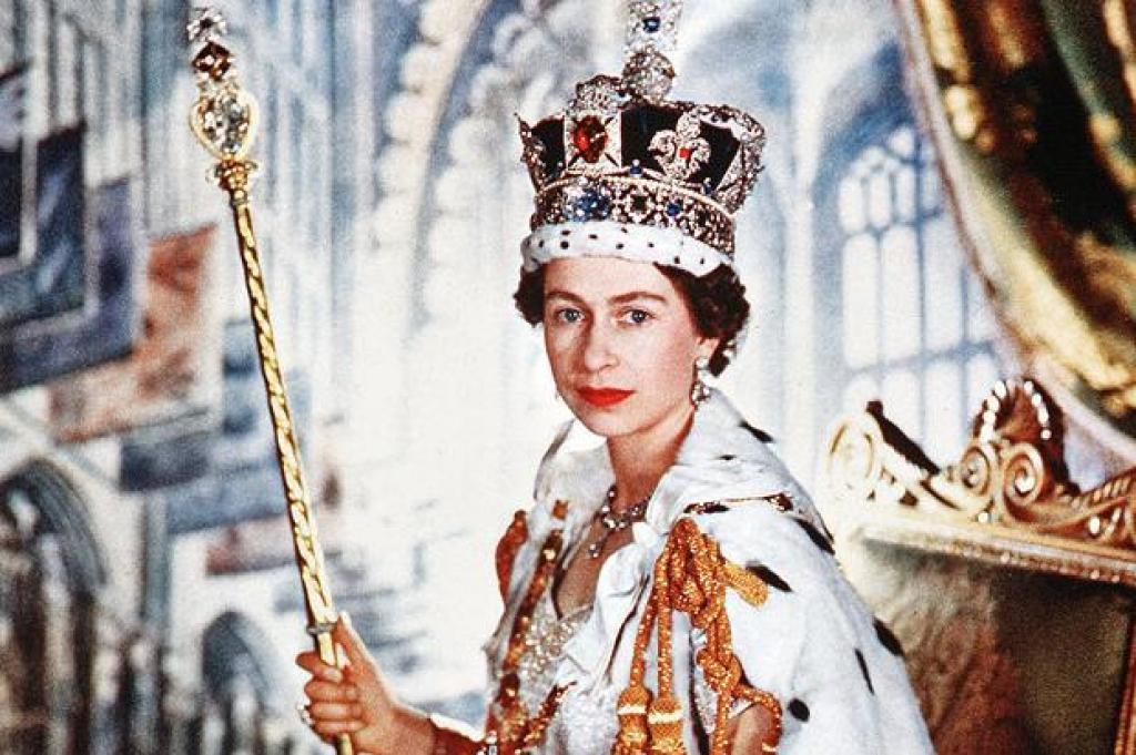 A picture of Queen Elizabeth II during her coronation on Jun 02, 1953 wearing the crown jewels