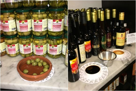 Sample Tastings of Olives, Vinegar, Olive Oil at Despaña Fine Foods & Tapas Café Soho