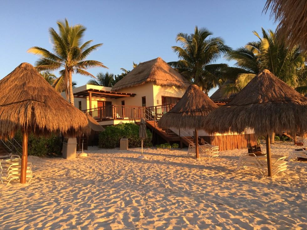 Oceanfront Casita Suite view from beach - Fairmont Mayakoba
