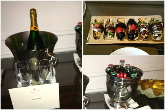 Welcome Tray and bottle of Champagne at Acqualina Resort & Spa