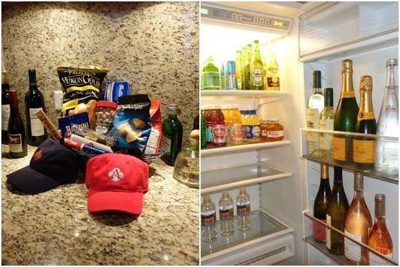 Fully stocked refrigerator and snacks in the One Bedroom Ocean Front Suite at Acqualina Resort