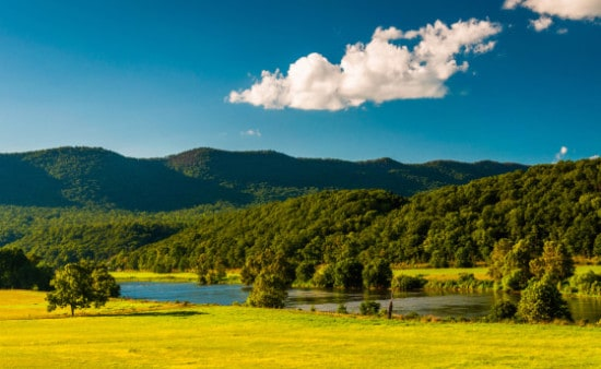 View of the Shenandoah River and Massanutten Mountain, in the Shenandoah Valley, Virginia