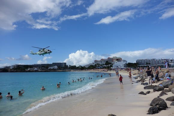 Maho Beach Helicopter Landing at the airport in St. Martin