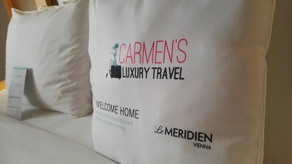 Welcome pillow at Le Meridien Vienna