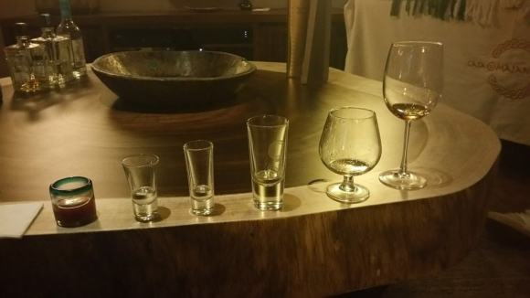 Five different tequilas and a tomato chaser