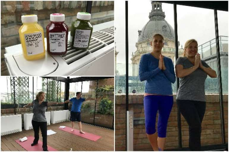Yoga on the rooftop terrace of the High Note Skybar - Aria Hotel Budapest