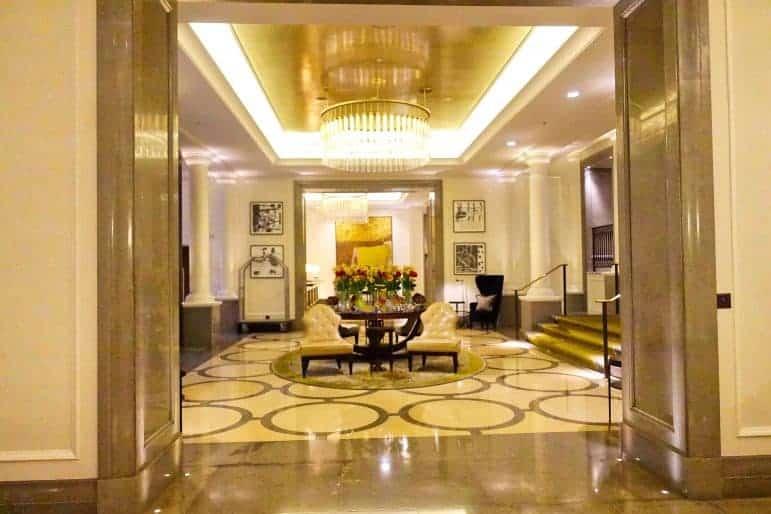 Reception Area at the Corinthia Hotel London