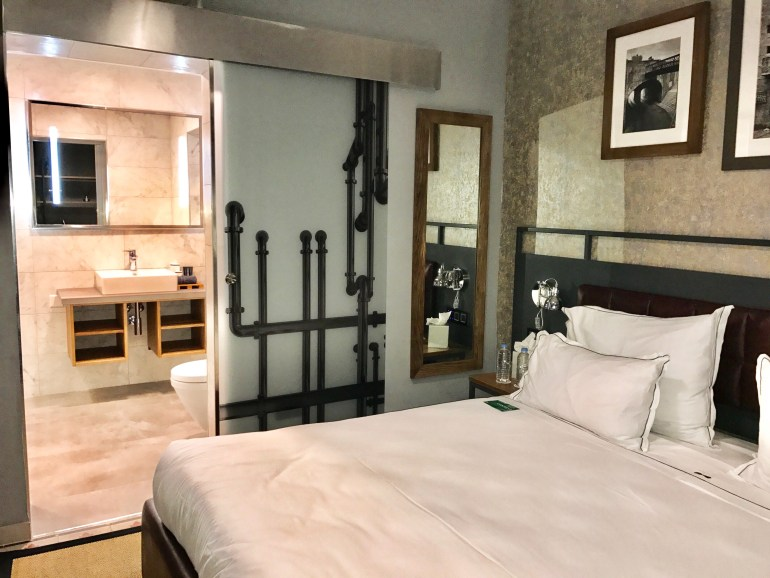 Comfort Quad Room view of the sliding door to bathroom