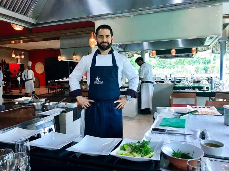 Chef Mario González preparing a tasting lunch at Kabuki Japanese Restaurant