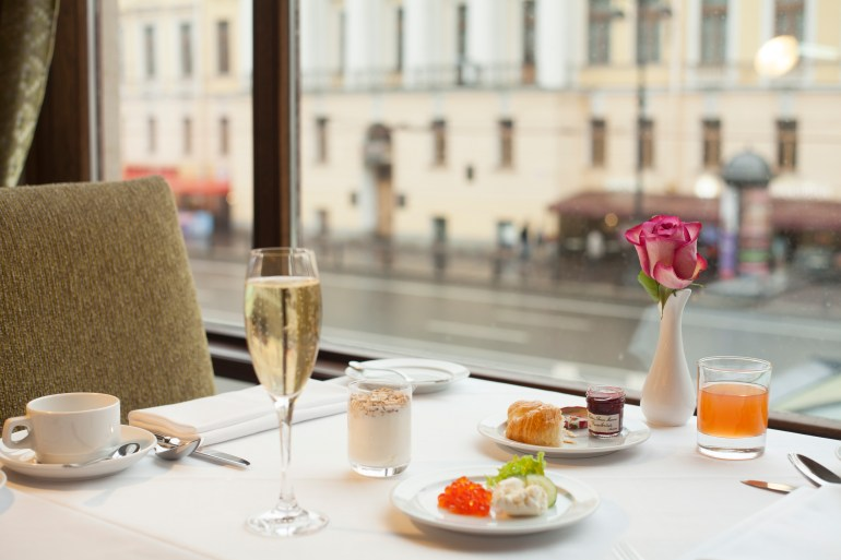 Imperial Restaurant views of Nevsky Prospect - photo Corinthia Hotel St Petersburg