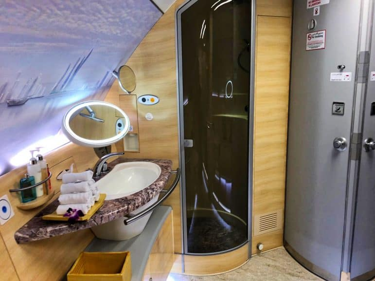 Emirates A380 First Class Bathroom with Shower