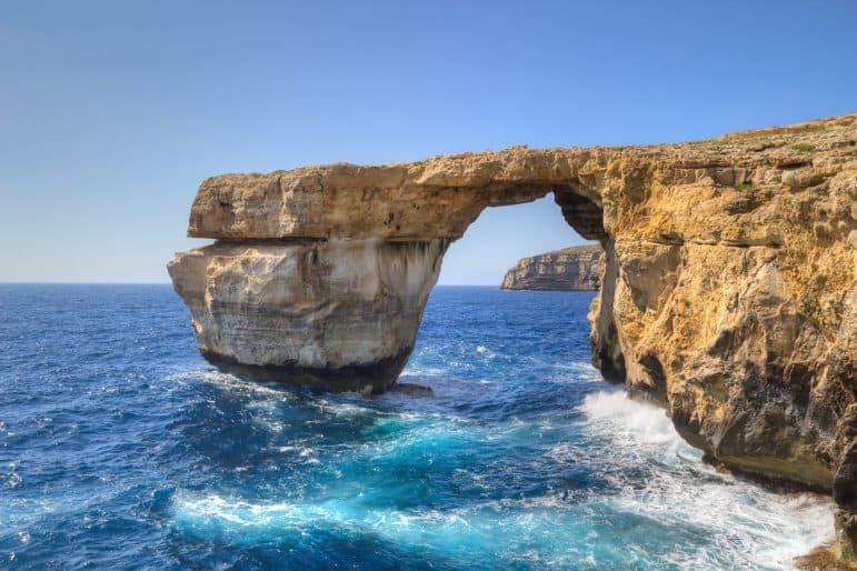 Azure Window, famous stone arch on Gozo island, Malta