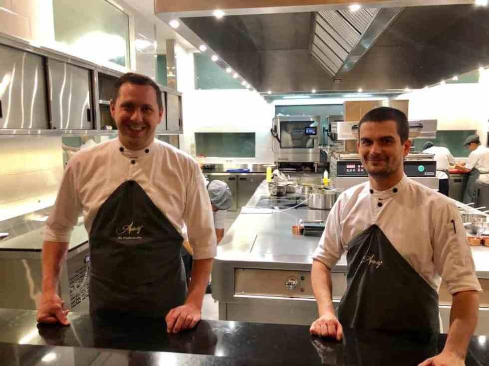 Chef Nic Vanderbeeken and Pastry Chef Alexander McKinstry in the Aperitif Kitchen