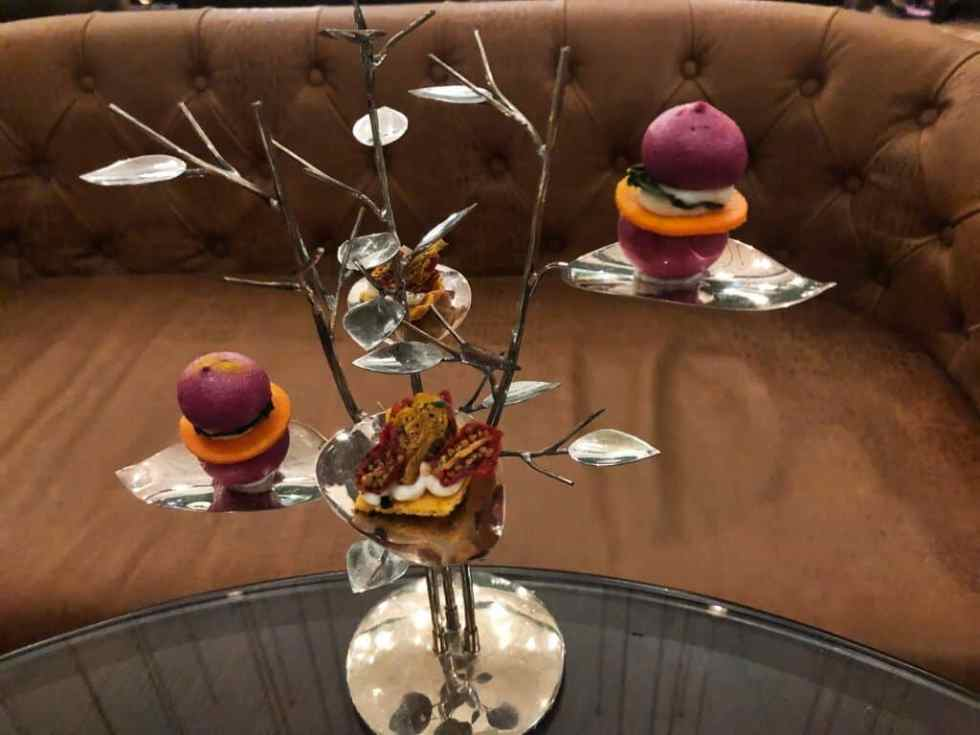 Canape Tree with beetroot goats cheese macaroons