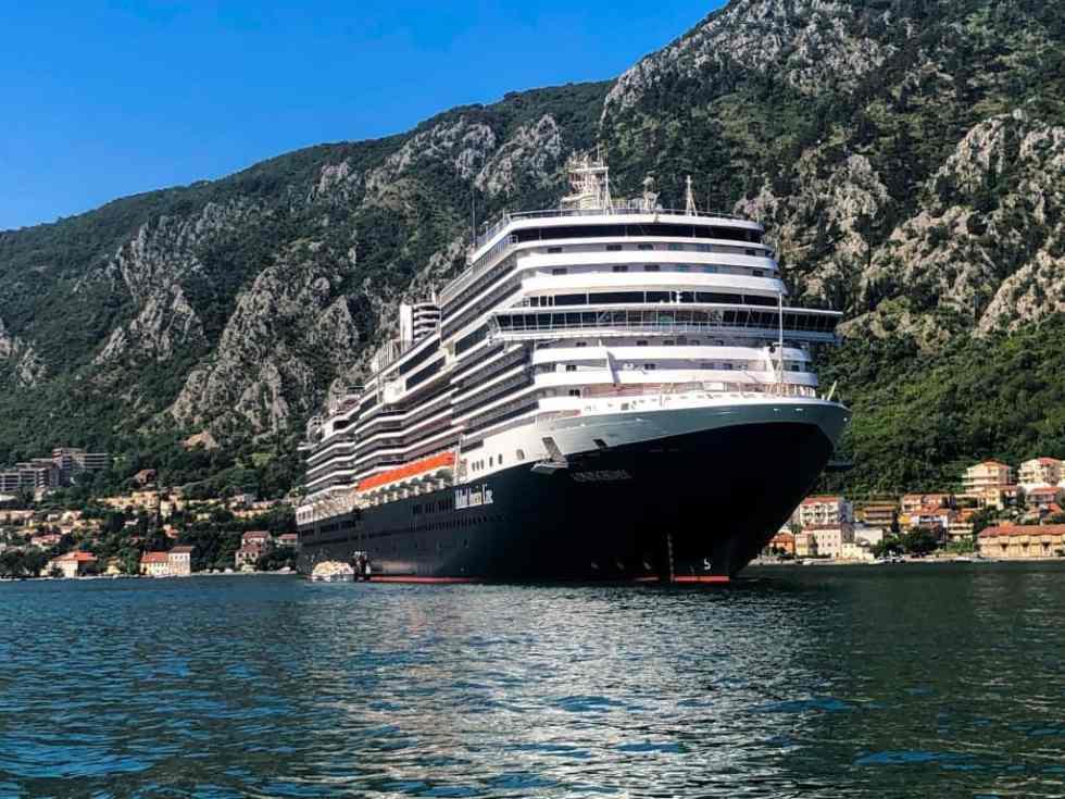 Holland America Koningsdam docked in Kotor, Montenegro