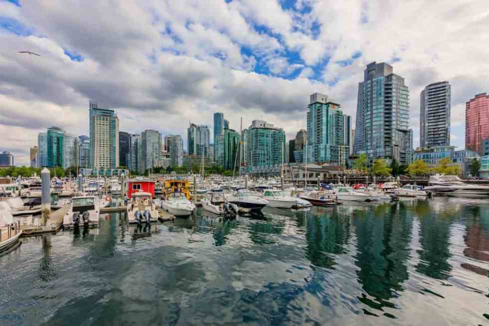 Coal Harbor in Vancouver British Columbia with downtown buildings