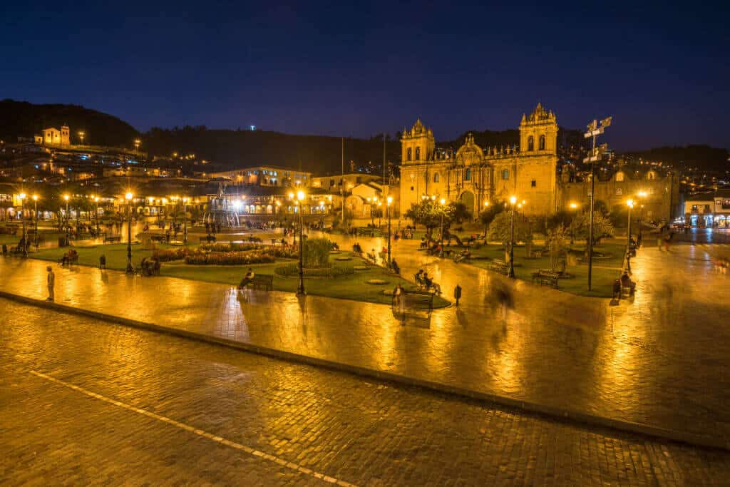 Plaza de Armas in the evening, Cusco